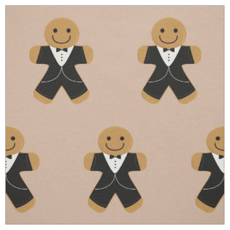 Gingerbread man in a tuxedo fabric