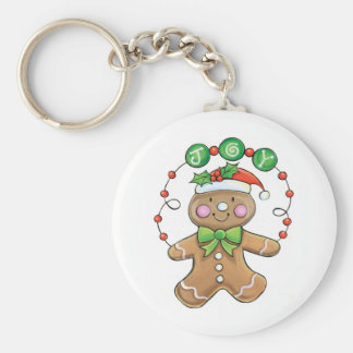 """Gingerbread Man """"Joy"""" for Christmas Basic Round Button Key Ring"""