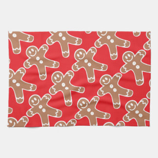 Gingerbread Man on Red Tea Towel