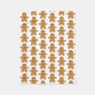 Gingerbread Man Pattern Fleece Blanket