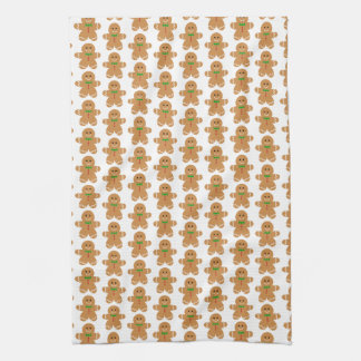 Gingerbread Man Pattern Tea Towel