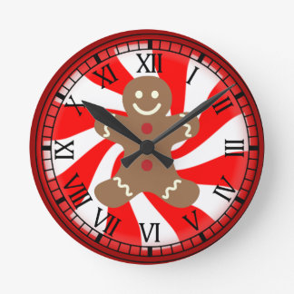 Gingerbread Man Peppermint Candy Christmas Clock