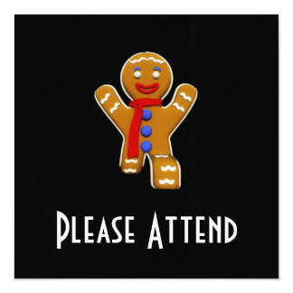 Gingerbread Man - Perfect Landing 13 Cm X 13 Cm Square Invitation Card