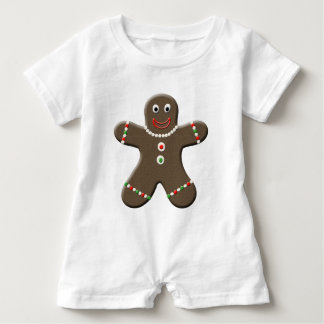 Gingerbread Man Red Holiday Baby Romper