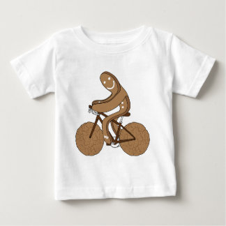 Gingerbread Man Riding Bike With Gingersnap Cookie Baby T-Shirt
