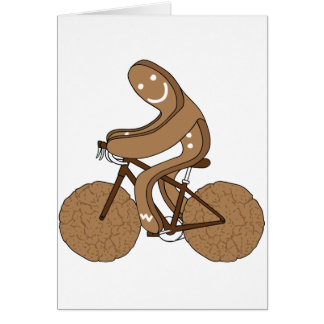 Gingerbread Man Riding Bike With Gingersnap Cookie Card