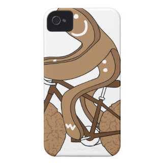 Gingerbread Man Riding Bike With Gingersnap Cookie Case-Mate iPhone 4 Cases