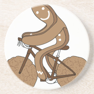 Gingerbread Man Riding Bike With Gingersnap Cookie Coasters