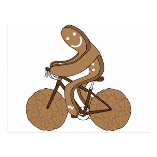 Gingerbread Man Riding Bike With Gingersnap Cookie Postcard