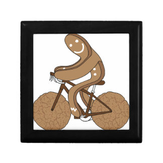 Gingerbread Man Riding Bike With Gingersnap Cookie Small Square Gift Box