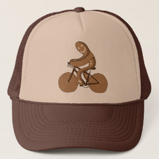Gingerbread Man Riding Bike With Gingersnap Cookie Trucker Hat