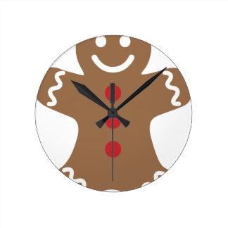 Gingerbread Man Round Clock