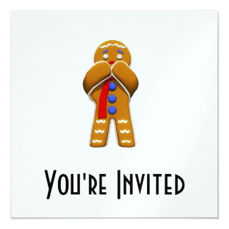 Gingerbread Man - Scared - Original Colors 13 Cm X 13 Cm Square Invitation Card