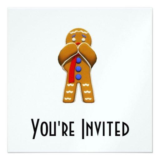 Gingerbread Man - Scared - Original Colors Custom Invitations