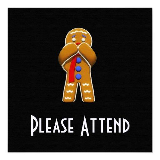 Gingerbread Man - Scared - Original Colors Personalized Invitation