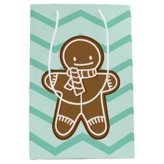 Gingerbread Man scarf cookie medium gift bag