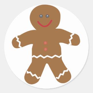 Gingerbread Man Stamp Round Sticker