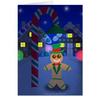 Gingerbread Man under Candy Lamp Card