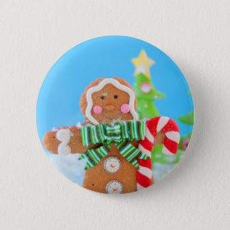 Gingerbread man with candy cane 6 cm round badge