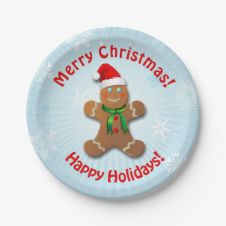 Gingerbread Man With Christmas Hat Paper Plate