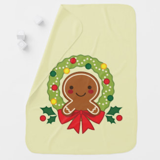 Gingerbread Man with Christmas Wreath Illustration Baby Blanket