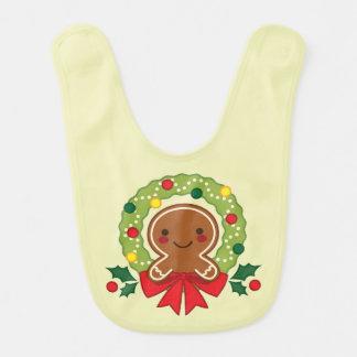 Gingerbread Man with Christmas Wreath Illustration Bib