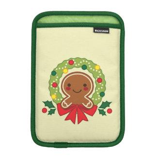 Gingerbread Man with Christmas Wreath Illustration iPad Mini Sleeve