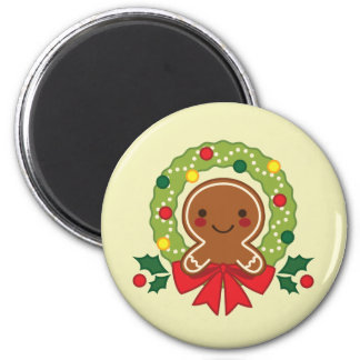 Gingerbread Man with Christmas Wreath Illustration Magnet