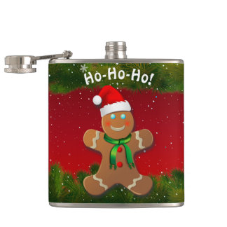 Gingerbread Man With Red Christmas Hat Hip Flask