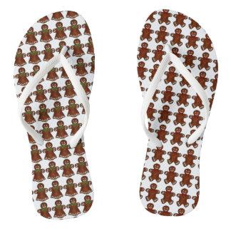 Gingerbread Man Woman Christmas Cookie Flip Flops Thongs