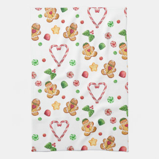 Gingerbread Men and Candycane Hearts Towels