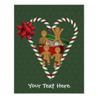 Gingerbread Men Candy Cane Heart Holiday Poster