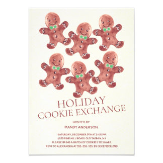 Gingerbread Men Holiday Cookie Exchange Invitation