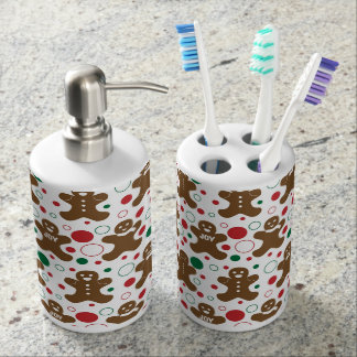 Gingerbread Men Holiday Pattern Bath Accessory Sets