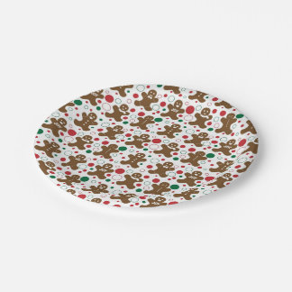 Gingerbread Men Holiday Pattern 7 Inch Paper Plate