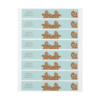 Gingerbread Men Holiday Wraparound Address Labels Wraparound Address Label