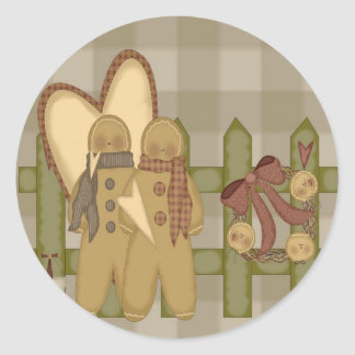 Gingerbread Men Rusty Wire Wreath Fence Classic Round Sticker
