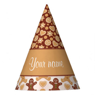 Gingerbread Men, Smiley Faces and Hearts Party Hat
