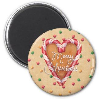 Gingerbread Merry Christmas Heart Button Fridge Magnet