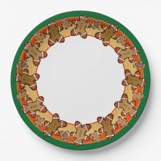 Gingerbread people cookie server paper plate
