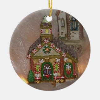Gingerbread Porcelain Church Round Ceramic Decoration