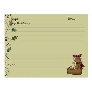 Gingerbread Recipe Cards Postcard