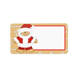 Gingerbread Santa Claus Label