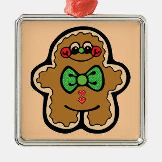 Gingerbread Silver-Colored Square Decoration