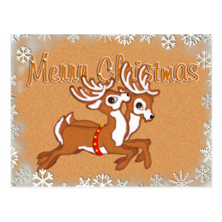 GINGERBREAD SLEIGH & REINDEER  by SHARON SHARPE Postcard