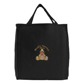 Gingerbread Sweetest Mom Embroidered Tote Bag