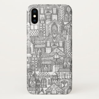 gingerbread town black white iPhone x case
