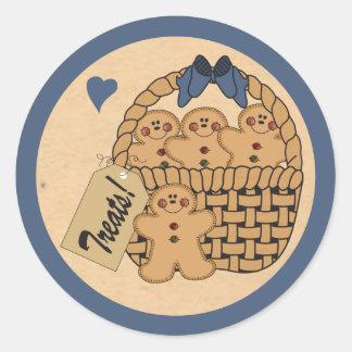 Gingerbread Treat Basket Round Sticker