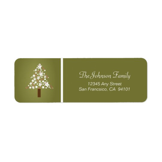 Gingerbread Tree Holiday Address Labels (olive)