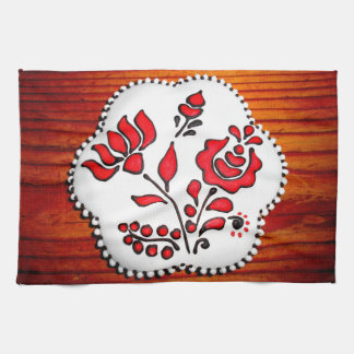 Gingerbread With Hungarian Motifs Tea Towel
